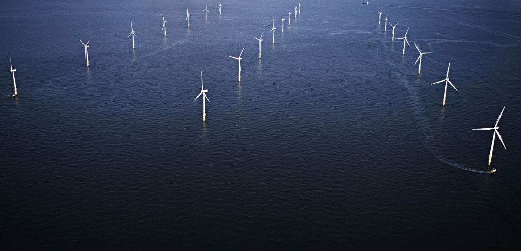 Aerial view of the Burbo Bank offshore wind farm, courtesy of Ørsted
